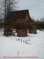 Резные домики для колодцев и головки. Малая архитектура для сада и дач